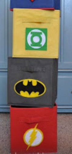 DIY -Super Hero Felt Cutouts. Great ideas for boy's toy bins.