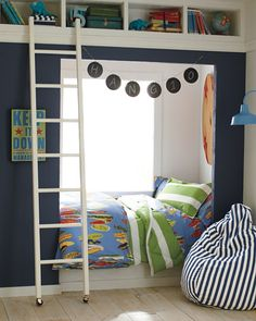 built-in bed next to a window