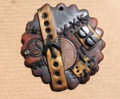 Steampunk polymer clay pendant