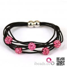 Shamballa style Rubber rope Multi-strand chain Pink Disco Beads Black Bracelet with Magnetic Bead Clasp [H5523] - $3.99 : Wholesale Beads and Jewelry Making Supplies - ibead.cc