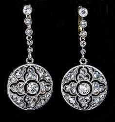Antique Diamond Openwork Dangle Earrings