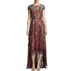 Marchesa Notte Short-Sleeve Belted High-Low Gown featuring polyvore, fashion, clothing, dresses, gowns, wine, sheer gown, red dress, red floral dress, see through dress and wine red dress