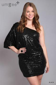 Umgee+ USA Boutique Black Sequin Cocktail Party Dress Plus Size XL 1XL 2XL