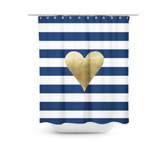 Navy And White Shower Curtain Fabric Curtain Stripes Love Heart Gold H
