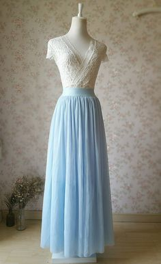 * Welcome to Dressromantic* * Very very beautiful dusty blue tulle skirt. Many…
