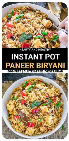 Instant Pot Paneer biryani is made with basmati rice, a medley of fresh vegetables, & a perfect combination of seasonings. This biryani comes together in about 30 minutes tastes incredibly delicious. Best Vegetarian Recipes, Lunch Recipes, Easy Dinner Recipes, Indian Food Recipes, Easy Meals, Ethnic Recipes, Rice Recipes, Meat Recipes, Paneer Biryani