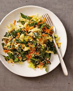 Quinoa Salad with Kale and Napa Cabbage | Martha Stewart - A citrusy ginger-sesame dressing enlivens this grain-and-greens salad. #salad #saladrecipe #grainbowl