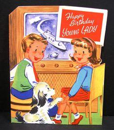 Vintage Unused BIRTHDAY Greeting Card DIE CUT Boy Girl TV Spaceship Dog Puppy