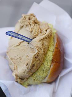 Gelato in a Brioche with Pistachio cream... a great typical breakfast in #Sicily! / Brioche con gelato al pistacchio, la colazione dei campioni in #sicilia!