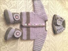 A personal favorite from my Etsy shop https://www.etsy.com/listing/218484520/baby-booties-baby-cardigan-baby-beanie
