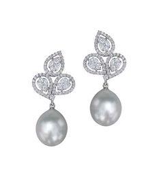 Diamond and pearl earrings by Ghanasingh Be true. Buy online at Velvetcase.com
