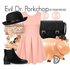 Evil Dr. Porkchop by leslieakay on Polyvore featuring MANGO, Accessorize, Henri Bendel, Boohoo, Disney, disney, disneybound and disneycharacter