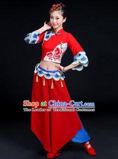 Traditional Chinese Yangge Fan Dancing Costume, Folk Dance Yangko Mandarin Collar Peony Tassel Blouse and Pants Uniforms, Classic Dance Elegant Dress Drum Dance Clothing for Women
