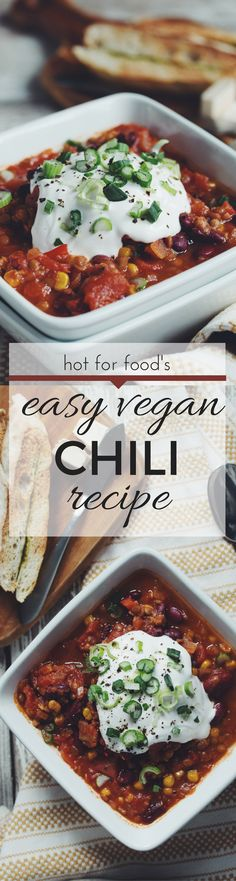 EASY VEGAN CHILI | RECIPE on hotforfoodblog.com