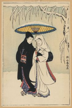 Couple Under an Umbrella in the Snow by Harunobu