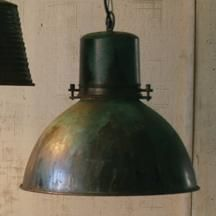 """Metal Hanging Pendant With Green Patina  SKU # KALNDP1007    Sold in Boxes of: 1 $219 Each    Product Dimensions:  16"""" x 16"""" x 16""""t     Each pendant has UL listed parts and comes with a metal ceiling cap and a six foot cord with a plug that can be removed for professional hard wiring."""