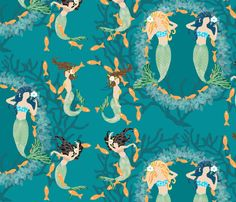 Playful Mermaids with Fish