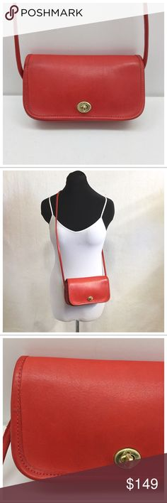"""Vintage {Coach} NYC Red Dinky 🚫Trades🚫Holds🚫Price talk in comments plz Authentic Coach Dinky  - Red leather, brass hardware  - Suede interior w/ zip pocket  - Made in late 70's/early 80s in New York City, the original Coach factory  - Shoulder bag or crossbody  - About 9"""" x 5 x 1 3/4, strap drop is about 19.5""""  - Near mint condition, no noticeable marks outside, inside is like new  - Leather has been conditioned and is ready for new owner! I'm a vintage Coach collector downsizing & have…"""
