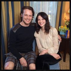 Sam Heughan & Caitriona Balfe - Jaime and Claire from the Outlander mini-series on Starz! The books are PHENOMENAL!!!!!
