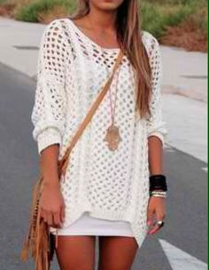 A knit sweater like this and a slip similar. Short Sleeve Dresses, Mini Dresses, Crochet Top, Scoop Neck, Cover Up, Spring Summer, Knitting, My Style, Sweaters