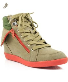 9a73ff63b9f5 Qupid Patrol-02 Collar Lace Up Wedge Sneaker CAMEL (9
