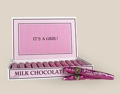 It's a Girl Chocolate Cigars: Candy Birth Announcements Front