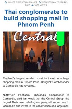 Bangkoks Central World is coming to Phnom Penh signaling the confidence in the booming market &tourist/  locals power of expenditure! Don't miss the 1st mover advantage!  The Bridge Retails Shoplot/ F&B (Level 1) is launching on 25th Mar! Price from U$118K Don't Miss Again! Most Peace of Mind Overseas Property Investment with 70% Rental Guaranteed over 10years. Fully Managed by SGX Mainboard Listed Developer.  Whatsapp/ Call/ SMS to (65)84188689 for the details and pricing.  Project details…