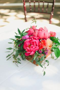 Coral centerpiece by Blossom Sweet.