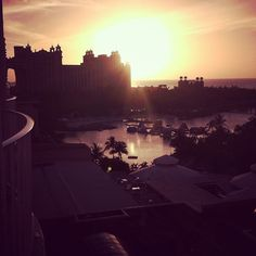 The sun setting at Atlantis Resort in The Bahamas.