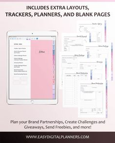 Digital Social Media Planner for Influencers, Bloggers, and Online Business Owners. You can use it in your iPad or tablet, phone, and even laptop! So get ready to create an effective and successful Social Media Marketing Strategy, and use this Digital Social Media Planner! Business Marketing, Social Media Marketing, Online Business, Planner Brands, Tablet Phone, Laptop, Ipad Tablet, Social Media Channels, Business Planning