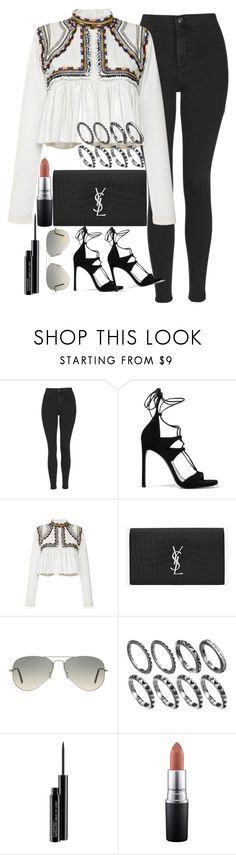 """""""Untitled #1600"""" by sarah-ihab ❤ liked on Polyvore featuring Topshop, Stuart Weitzman, Isabel Marant, Yves Saint Laurent, Ray-Ban and MAC Cosmetics"""