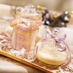 Scented Bath Salts  Help Mom pamper herself with beautifully bottled, floral-scented bath salts.