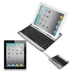 Skque Black Aluminum Bluetooth Wireless Keyboard Case Cover w/Stand and LCD Clear Screen Protector for Apple new iPad/ipad3/ipad HD,iPad2