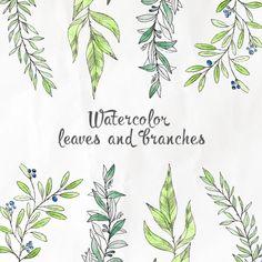 水彩画の葉と枝 無料ベクター