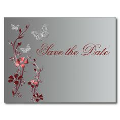 Red and Silver Butterflies Save the Date Postcard