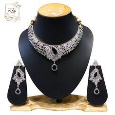 Designer American Diamond Necklace Set with Blue Stones