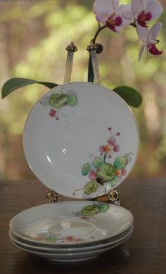 Vintage UCAGCO Occupied Japanese saucers, set of 4, breast cancer fund