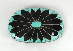 Native American Zuni Inlay belt buckle Turquoise and Jet and sterling silver
