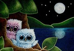 owl Baby | TINY BABY OWLS AT HOME - 2 MOONS? -NO... IT'S THE WATER REFLECTION ...