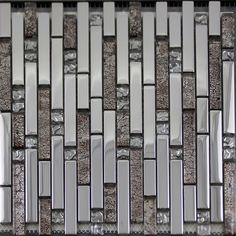 Glass mosaic tile backsplash interlocking stainless steel & crystal glass blend SB01 metal wall shower tile metallic floor tiles