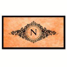 Alphabet Letter N Orange Canvas Print, Black Custom Frame
