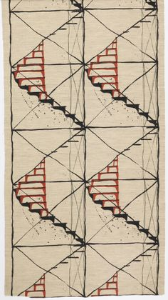 "Joe Martin for Arundell Clarke, Ltd.   ""Escalier"", 1950–55   screen print on cotton and goat hair   Courtesy Cooper-Hewitt"