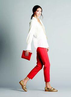 Ellen Tracy V-neck Georgette blouse & Red Slim Pants