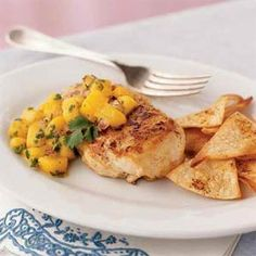Our Best Low-Fat Chicken Recipes  | Jamaican Chicken with Mango Salsa | MyRecipes.com