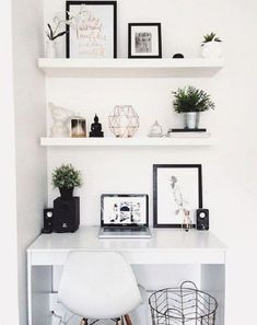 Eye-Opening Cool Ideas: Minimalist Home Design Small Spaces minimalist interior living room dreams.Colorful Minimalist Home Lounges minimalist home essentials office spaces.Colorful Minimalist Home Lounges. Small Bedroom Organization, Small Bedroom Hacks, Diy Bedroom, White Desk Bedroom, Bedroom Inspo, Master Bedroom, Desk In Small Bedroom, Office Organization, Floating Shelves Bedroom