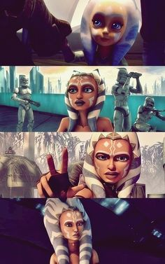 Ahsoka Tano at different ages. The first one's adorable, and the last one looks like a cat, but thats just my opinion....