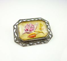 Vintage Brooch Goofus Glass Reverse Painted by zephyrvintage, $39.00