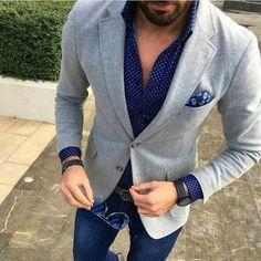 Men's Grey Wool Blazer, Navy Polka Dot Long Sleeve Shirt, Navy Jeans, Navy Paisley Pocket Square