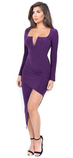 """- Structured square neckline - Asymmetrical hem - Side ruched - 92% Polyester, 8% Spandex - Model is 5'8.5"""" and is wearing a size Medium Measurements: - Bust: 36C Waist: 28"""" Hip: 39"""