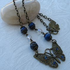 ONE DAY SALE Necklace - Butterfly Pendant with Lapis Lazuli and Mystic Quartz £7.50